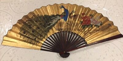 """Vintage X Large Asian Gold Fan Wall Decor, Hand Painted Peacock Floral 64"""" X 35"""""""