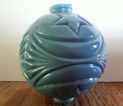 Moon and Star Blue Milk Glass Lightning Rod Ball Cabin Home Roof Decor
