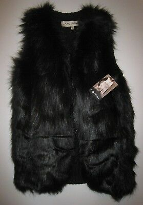 Women's Sebby Collection Faux Fur Sweater Back Vest Small New NWT