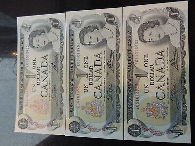 1973 BANK CANADA $1 ONE DOLLAR 3 CONSECUTIVES BFH1497200-01-02 BC-46b CROW BOUEY