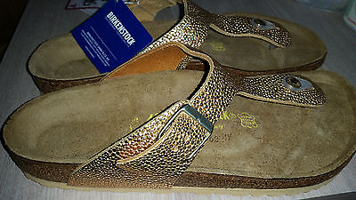 Reduced - Birkenstock - Gizeh - Metallic Gold Leather Rrp $154