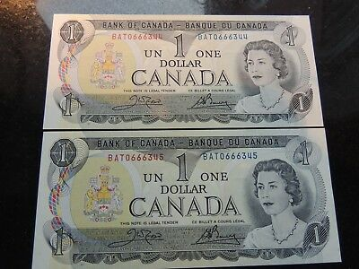 1973 BANK CANADA $1 ONE DOLLAR 2 CONSECUTIVES BAT 0666344-45 BC-46b CROW BOUEY