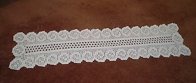 Vintage Long Thick Hand Ecru Crocheted Table Runner 34Cm X 126Cm