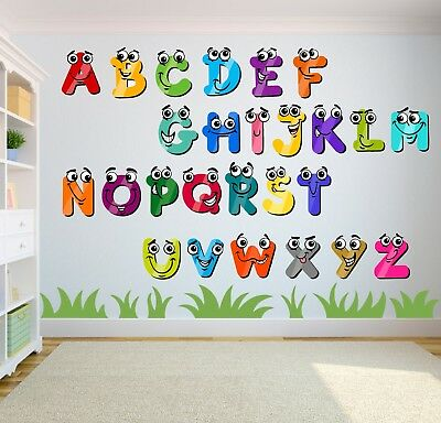 ALPHABET LETTERS STICKERS Nursery Phonics Learning Baby Wall ...