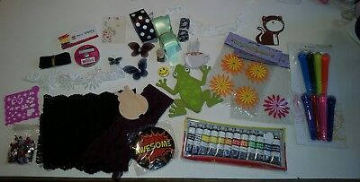 Scrapbook Craft Mixed Lot -  Ribbons Paint Stamps Lace Embellishments