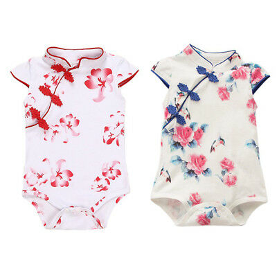 Chinese Style Kids Girl Cheongsam Romper Cotton Summer Siamese Clothes Outfit AU