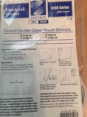 1 Interlogix Sentrol UTC 5150 W Glass Window Shock Sensor White NEW 5150-W