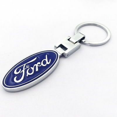 Auto Metal Key Chain Car Double Side Logo Pendant Key Ring Keyring For Ford#BLUE
