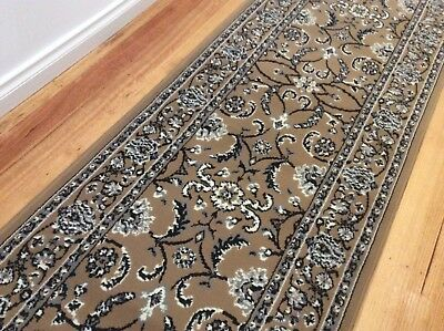 Hallway Runner Hall Runner Rug Traditional Beige 6 Metres Long x 1 Metre Wide 34