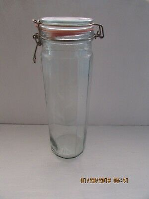 "Vintage 13"" Tall 12 Panel Glass Pasta Glass Jar with Wire Bail"