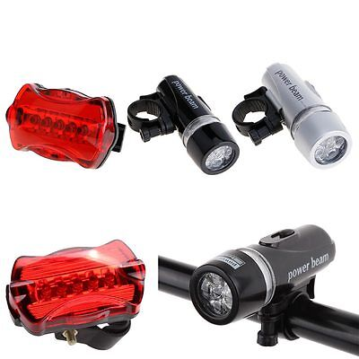 Bright 5 LED Bicycle Bike Cycle Front Head Light Rear Tail Back Warning Lamp Set