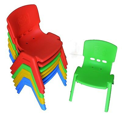 Set of 2 Brand New Kids Toddler Plastic Chair Green Blue Red High Back Comfort