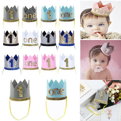 Baby Girl Boy Crown 1st First Birthday Headband Party Tiara Hairband Cake Smash