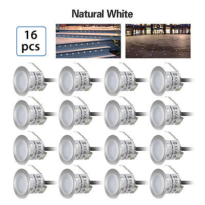 16Pcs 32mm 12V Natural White LED Recessed Deck Light Indoor Ourdoor Decoration