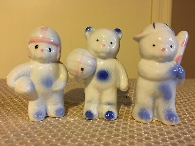 Set of Three Vintage Miniature Ceramic Bear Figurines Sports - Japan