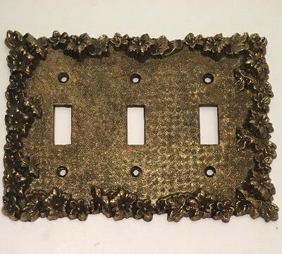 Vintage Brass Triple Toggle Light Switch Cover Plate Ornate Floral Vines