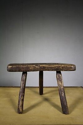18th Century Primitive Antique Oak Stool.