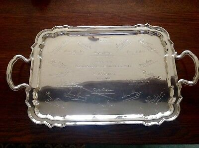 Antique English Sterling Silver Two Handled Drinks Tea Tray 1921
