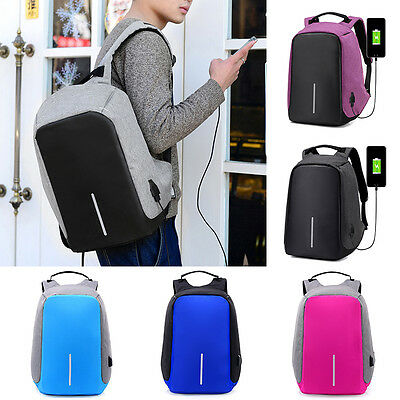 UK Anti-theft Waterproof Unisex Laptop Notebook Backpack with USB Charging Port