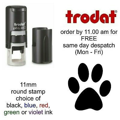Paw Print rubber stamp Loyalty Card Self Inking veterinary dog groomer 4612 11mm