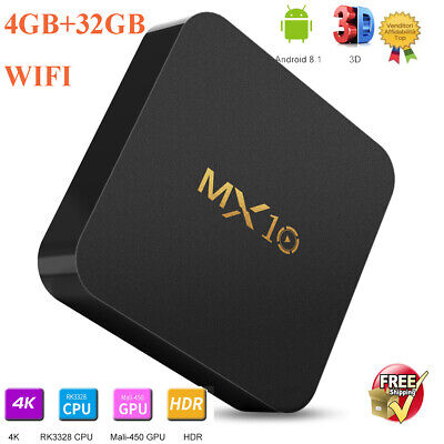 MX10 Android8.1 4K 2k HDR 4GB+32GB WIFI MINI Smart TV BOX Video Quad Core NUOVO