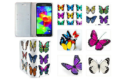 Flip Wallet PU Leather Case Cover For Samsung S4 S5 S6 Models Flower Butterfly 2