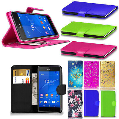 Luxury Genuine Real Black Leather Wallet Stand Case Cover for Sony Xperia Phones