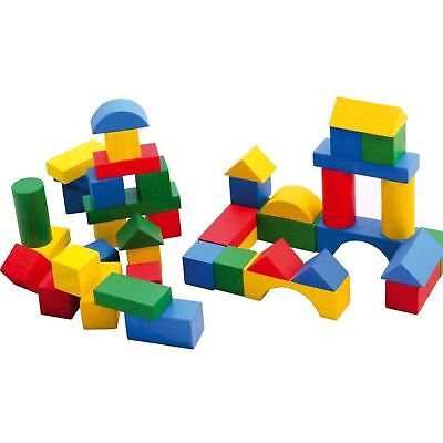 50/100Pc Coloured Wooden Blocks Construction Building Toy Blocks Assorted Shapes