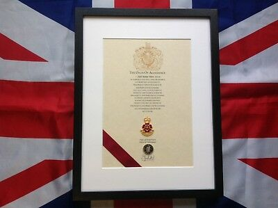 The Queens Lancashire Regiment Oath Of Allegiance With Cap Badge And Shilling