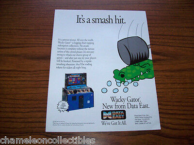 WACKY GATOR By DATA EAST 1990 NOS ARCADE GAME MACHINE SALES FLYER BROCHURE #1