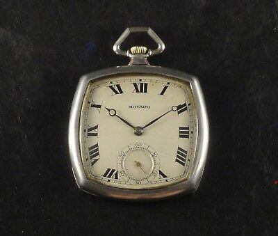 Ultra Rare Movado Cushion Antique Pocket Watch Sterling Silver Square Amazing