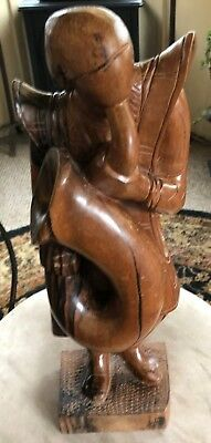 Standing Trumpeter - Hand Carved Wood Sculpture Bird Eye Wood . 1930's  Very rar