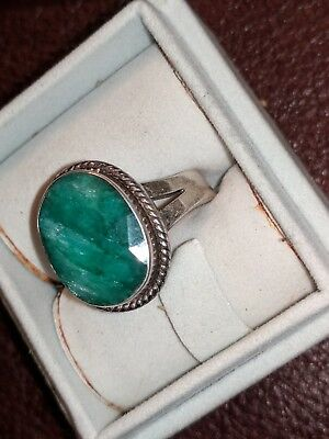 Vintage STAUER Sterling Silver Emerald Ring Very Nice  Collectable Ring