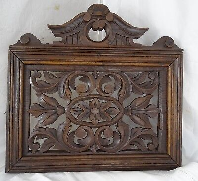"15 x 15"" Antique French Oak Wood Wall Decor - Wall Panel - Han Carved"