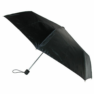 New Totes Basic Manual Open and Close Solid Black Compact Umbrella