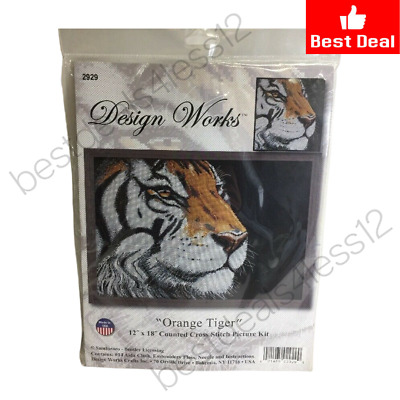 """Design Works Counted Cross Stitch Kit WHITE TIGER 12/"""" x 22/"""""""