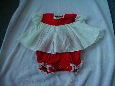 vintage baby girls dress & bloomer panties red white 1950s 1960s 6 to 12 months