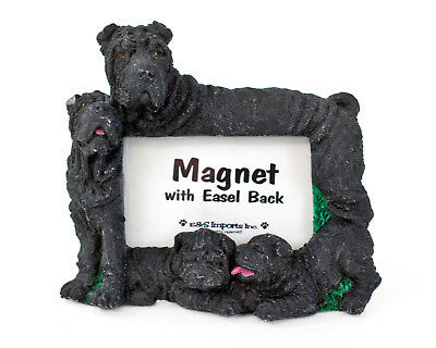 "E&S Imports Black Shar Pei Photo Frame Magnet 2.25"" x 1.5"", Cute Dog Lover Gift!"