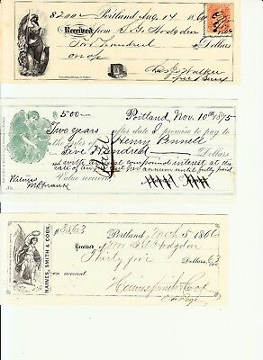 1866/1875 Lot of 3 receipts/promissory notes, Portland, Maine, nice vignettes