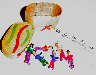 Worry Dolls Guatemala Fair Trade Wood Box Six Dolls Cast Your Worries Away
