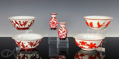 Nice Lot Of Old Chinese Peking Glass Cut Overlay Bowls And Vases