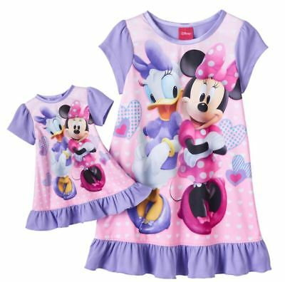 Girls 2T Disney Minnie Mouse & Daisy Duck Nightgown w/ Matching Doll Gown NWT