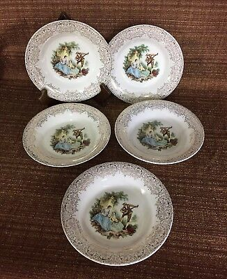 (5) Limoges American China D'OR Triump 22kt Gold IT-S284 Soup Bowls