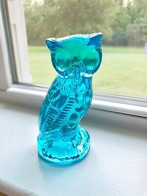 "Rare  Vintage Detailed Aqua Blue Glass Owl Paperweight Figurine 4.5"" 1 Lb Euc"
