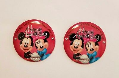 2 Disney World Happy Anniversary Button Where Dreams Come True Mickey Minnie Pin