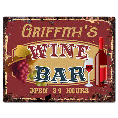 PLWB0369 GRIFFITH'S WINE BAR Rustic Tin Chic Sign Home Store Decor Gift Ideas