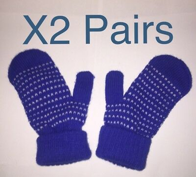 X2 Pairs Winter knitted mittens Blue/ White Color Boys Girls One Size New Glove