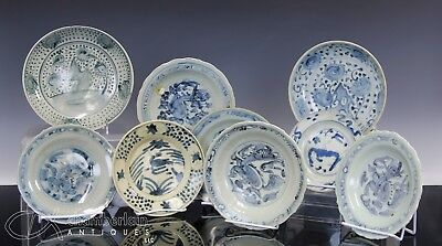 Large Lot Of Old Antique Chinese Blue White Plates Dishes - Ming Dynasty