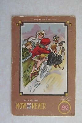 b242 Vintage postcard Caught on the run womans lib now or never our motto 1912