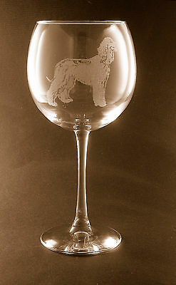 New! Etched Afghan Hound on Large Elegant Wine Glasses - Set of 2